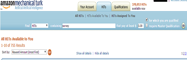 Mturk hit search option